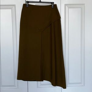 Tibi Olive Green Asymmetrical Midi Skirt